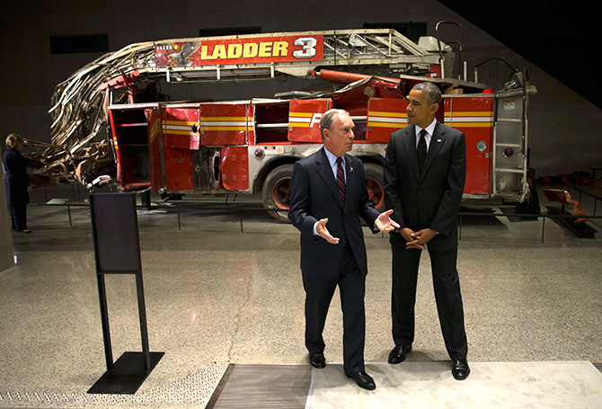 President Barack Obama and former New York Mayor Michael Bloomberg near Ladder 3 at the 9/11 Memorial Museum.