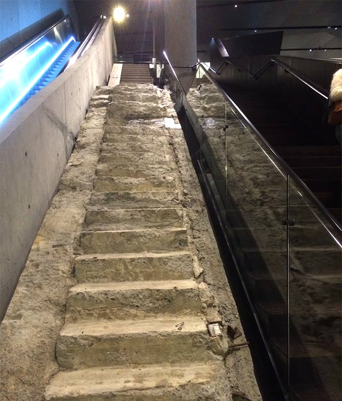 The Survivors' stair inside the 9/11 museum.