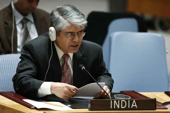 India's Ambassador to the United Nations Asoke Kumar Mukerji addresses the Security Council during the meeting about the situation in Palestine at the UN, July 22.