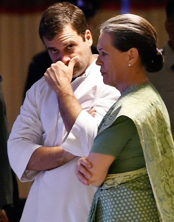 Congress President Sonia Gandhi and her son, party Vice President Rahul Gandhi