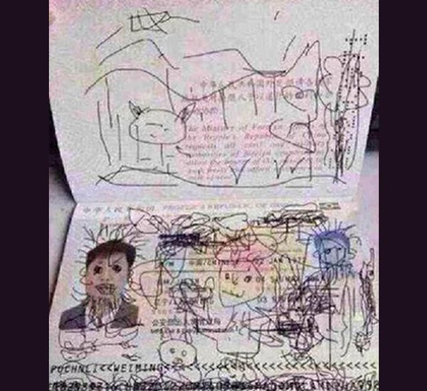 Man stuck in South Korea after son doodles on passport