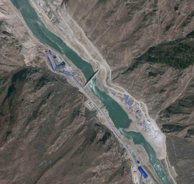 A satellite photo of the under-construction Zangmu dam that China is building on the Brahmaputra in the Tibet Autonomous Region