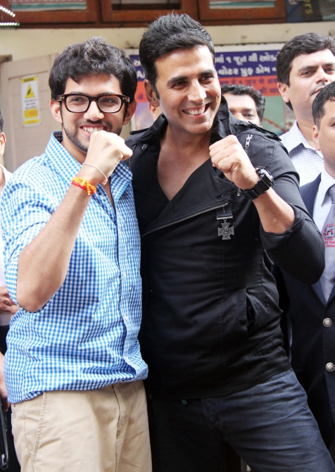 Aditya with actor Akshay Kumar