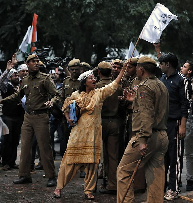 An AAP supporter during a protest in New Delhi