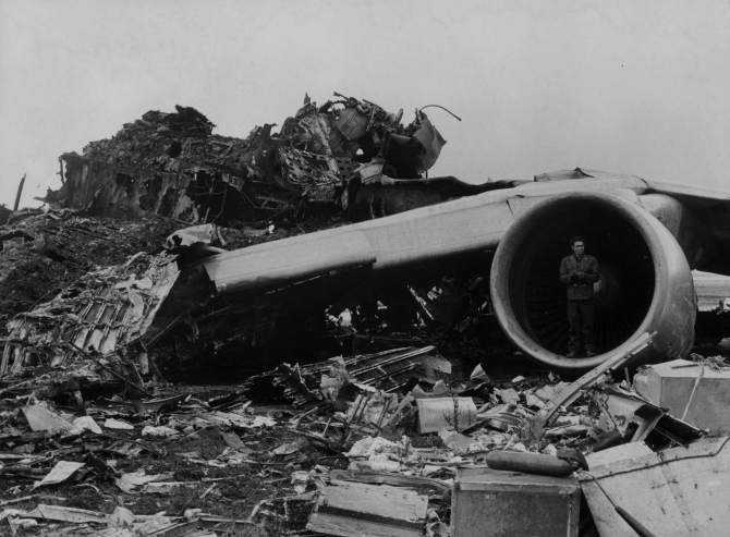 31st March 1977: Mass of wreckage on the runway at Santa Cruz airport, Tenerife after 747 Jumbo Jets belonging to Pan-Am and KLM collided.