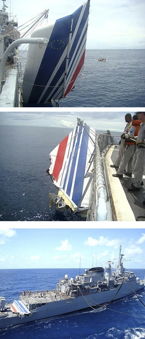 A combination photo shows the Brazilian navy picking debris from Air France flight AF447 out of the Atlantic Ocean, some 745 miles (1,200 km) northeast of Recife, in these handout photos distributed by the navy in Recife, northeastern Brazil.