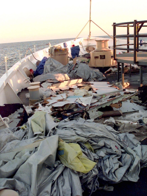 Debris from EgyptAir Flight 990, that crashed into the Atlantic Ocean 60 miles south of Nantucket Island, sits on the deck of Coast Guard Cutter Reliance.