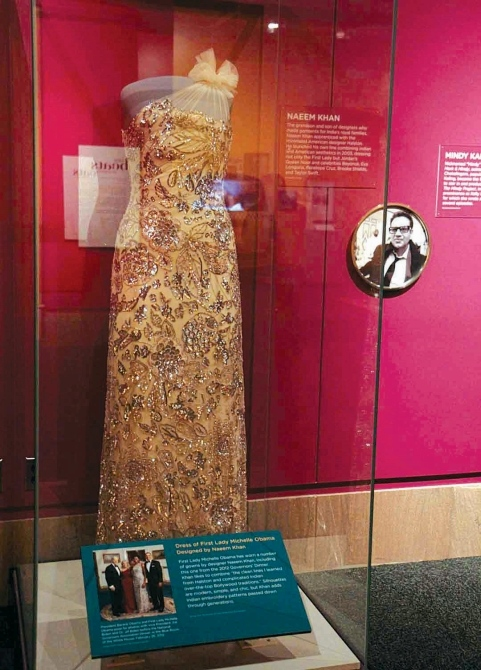 A dress worn by First Lady Michelle Obama designed by Indian American Naeem Khan.