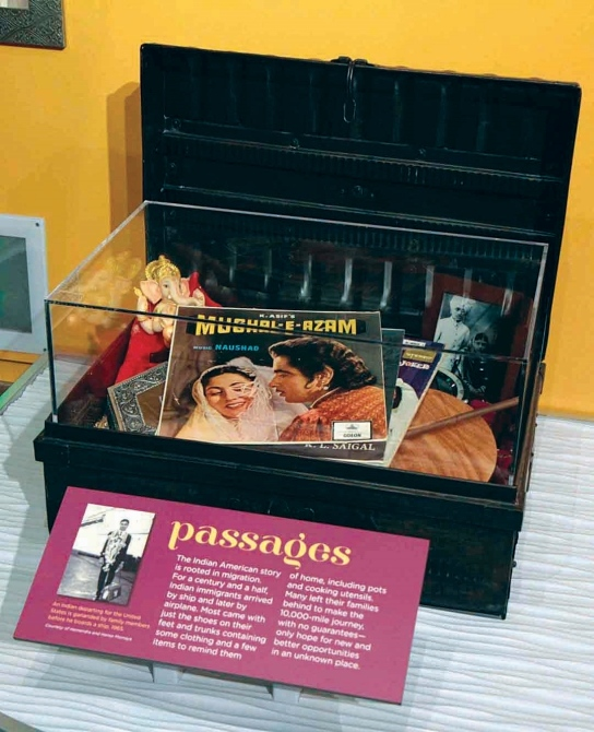 An immigrant's luggage is showcased at the exhibition.