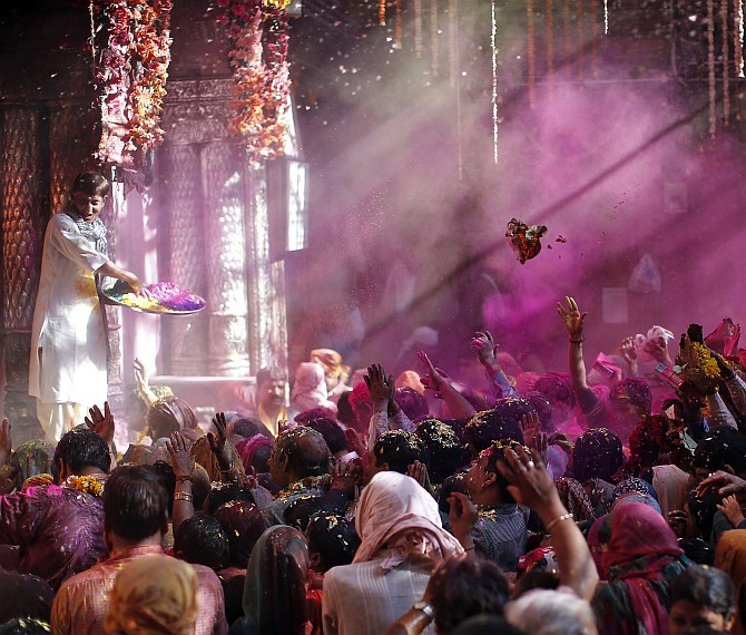 This is how they play Holi in Vrindavan