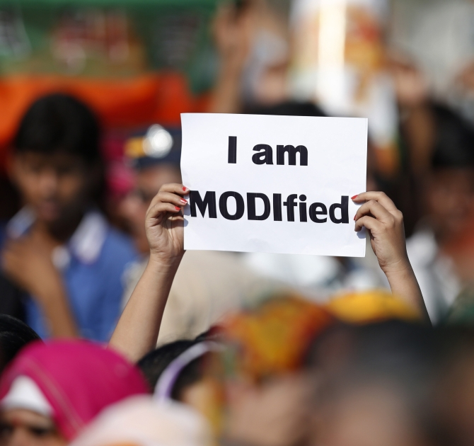 A supporter of Modi during a rally in Mumbai