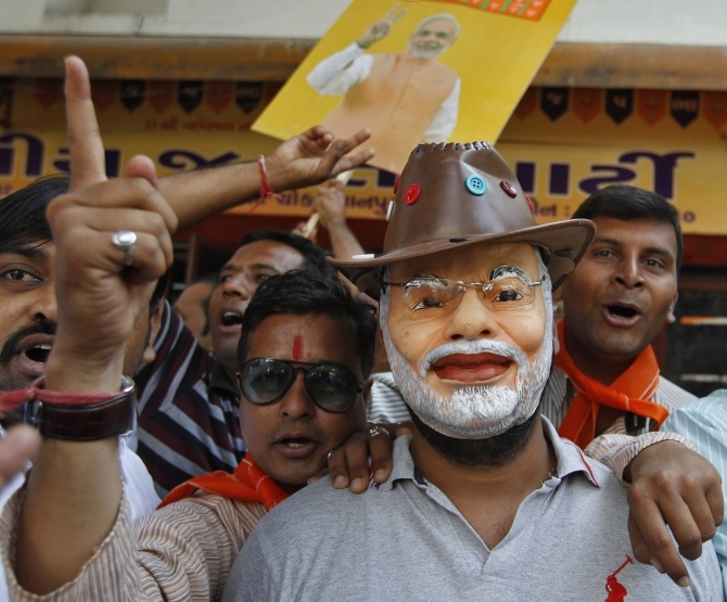 Supporters of Narendra Modi in Ahmedabad