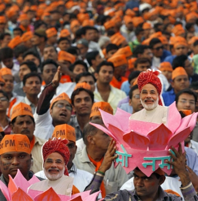 Narendra Modi's supporters during a rally in Ahmedabad