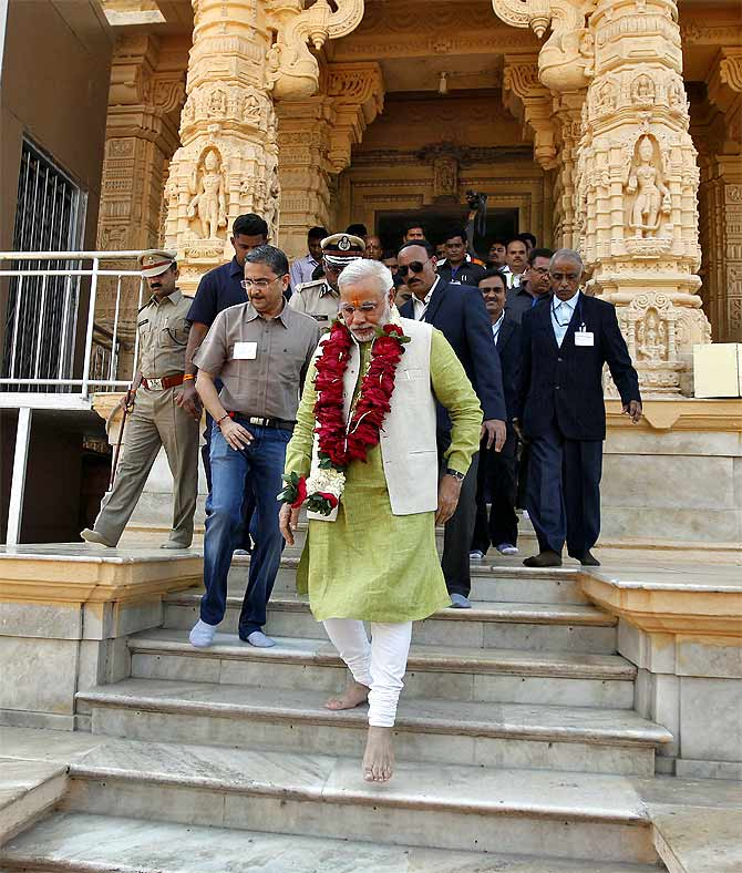 Narendra Modi at the Somnath temple in Gujarat.
