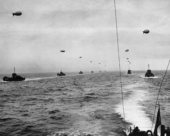 A convoy of Landing Craft Infantry sails across the English Channel toward the Normandy Invasion beaches on D-Day
