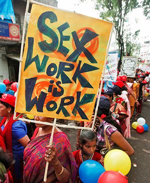 A rally by sex workers in Sonagachi, West Bengal.