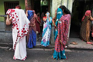 Sex workers in Sonagachi, Kolkata's red light district.