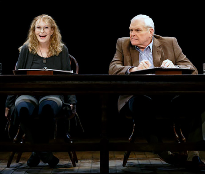 Mia Farrow, left, and Brian Dennehy perform Love Letters