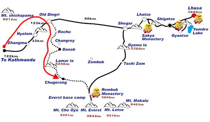 Route map: Kathmandu to Everest Base Camp