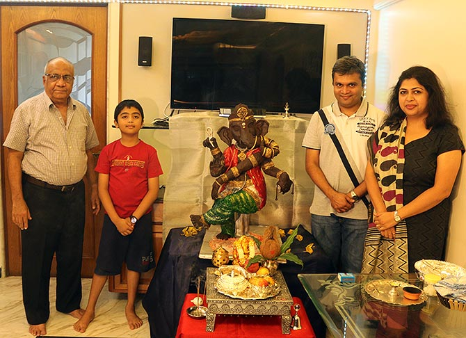 The Rathods with their chocolate Ganpati