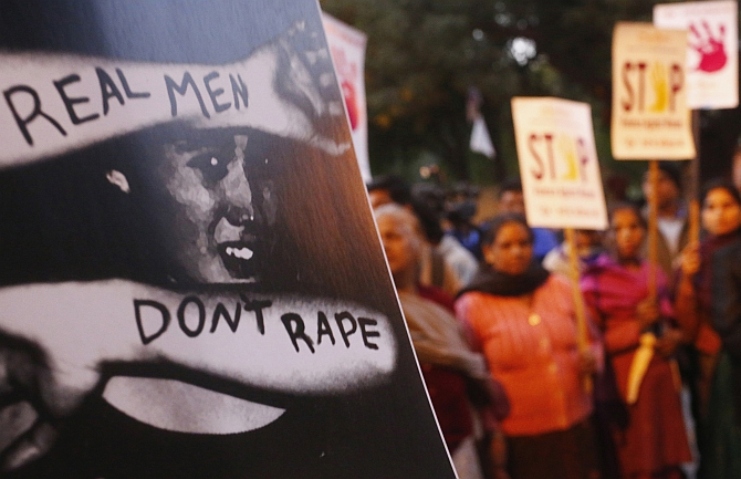 A demonstration against rape in India.