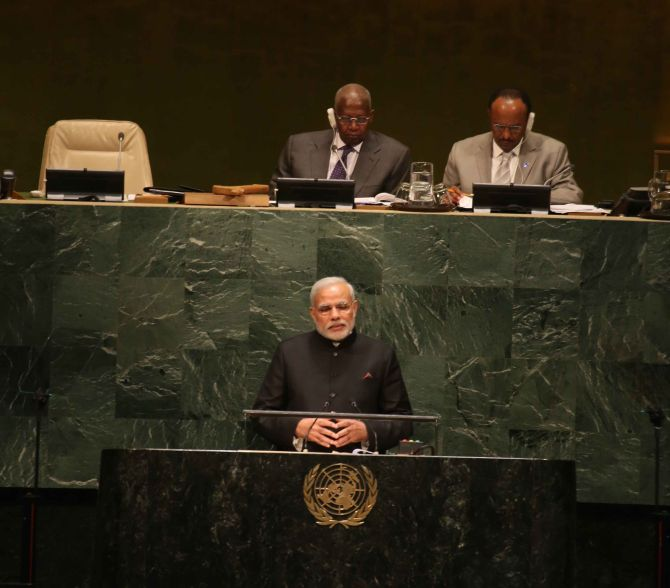 Prime Minister Narendra Modi at the United Nations last year. Photograph: Paresh Gandhi/Rediff.com