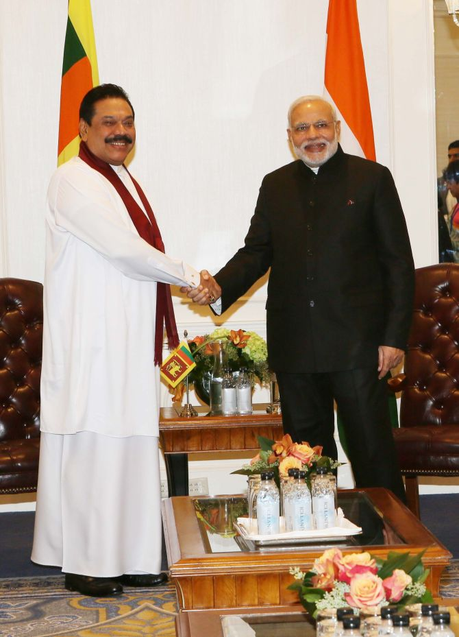 Then Sri Lankan president Mahinda Rajapaksa, left, with Prime Minister Narendra Damodardas Modi in New York, September 2014. Photograph: Paresh Gandhi for Rediff.com