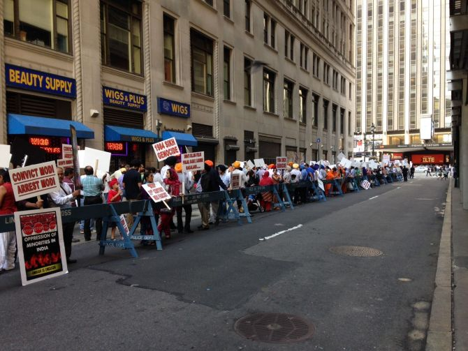 Protests against Modi in New York