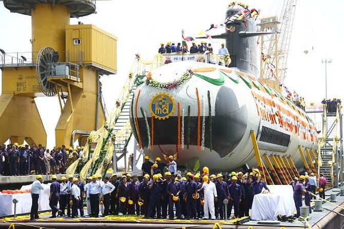 Much-delayed Scorpene submarine finally hits the sea