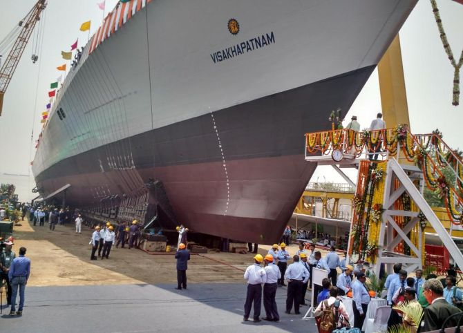 The Navy's largest destroyer INS Visakhapatnam is here!