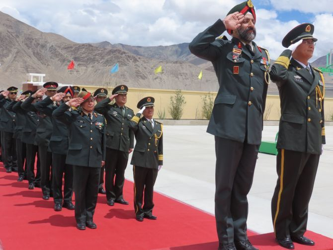 An Indian Army brigadier and a People's Liberation Army senior colonel take the salute in the Daulat Beg Oldie area along the Line of Actual Control in the Ladakh sector of Jammu and Kashmir. Kindly note that the image has been published only for representational purposes.