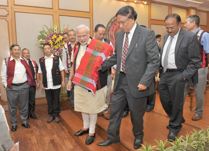 Prime Minister Narendra D Modi with Nationalist Socialist Council of Nagaland leader Thuingaleng Muivah. National Security Advisor Ajit Doval and other NSCN leaders are also seen. Photograph: Press Information Bureau