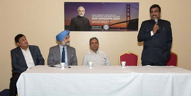 Taranjit Singh Sandhu, then deputy chief of mission of the embassy of India in Washington DC, second from left, with Chandru Bhambhra, co-chairman, Indo American Community of West Coast, left, Venkatesan Ashok, India's consul general in San Francisco, and BJP General Secretary Ram Madhav, speaking, ahead of Prime Minister Narendra Damodardas Modi's visit to Silicon Valley in 2015