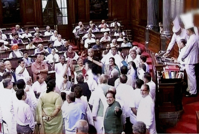 Cong protest stalls debate on GST Bill in RS again