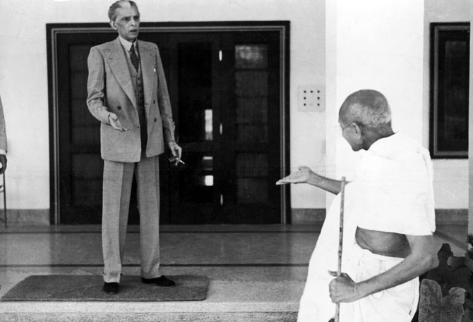 Mahatma Gandhi leaves Mohammad Ali Jinnah's home, en route to the viceregal lodge in Delhi, November 24, 1939. Photograph: Topical Press Agency/Hulton Archive/Getty Images