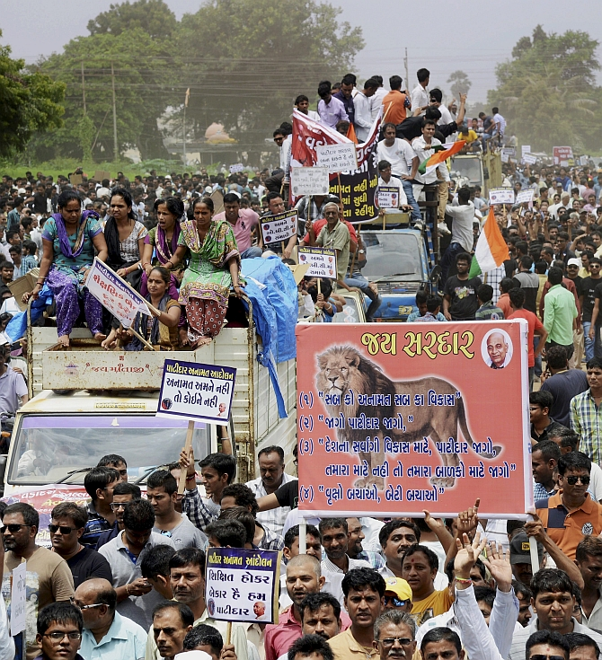Members of the Patidar or Patel community at a rally to demand reservations for their community. Photograph: PTI Photo