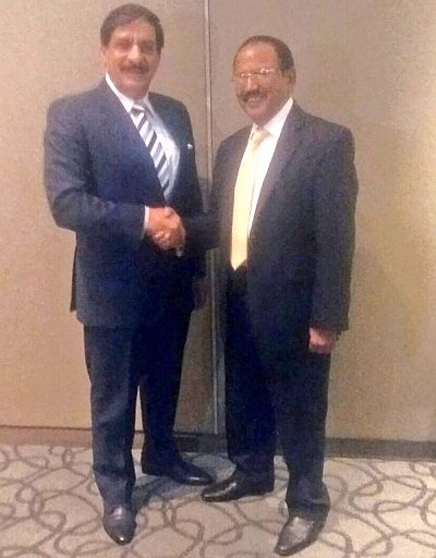 National Security Advisor Ajit Kumar Doval with his then Pakistan counterpart, Lieutenant General Nasir Janjua (retd), in Bangkok in December 2015.