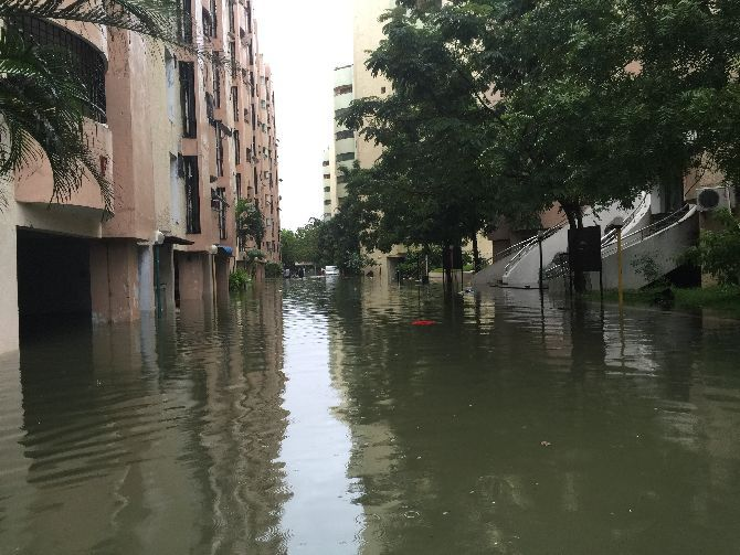 The flooded housing complex