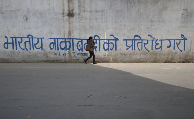Graffiti that reads 'Let's protest against the Indian blockade' grafitti in Kathmandu. Photograph: Navesh Chitrakar/Reuters