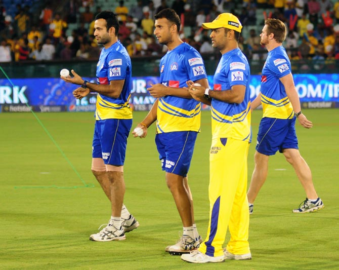 Chennai Super Kings players during warmup session