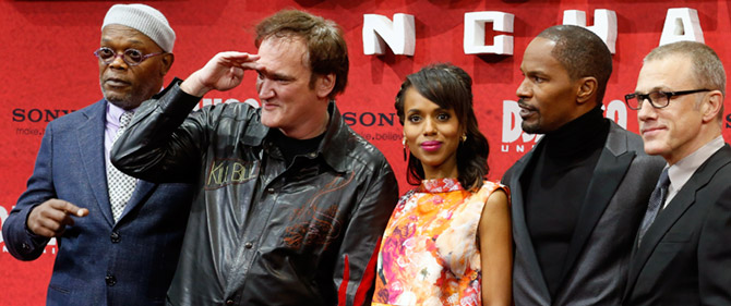 Quentin Tarantino with the cast of Django Unchained, Samuel L Jackson, left, Kerry Washington, Jamie Foxx and Christoph Waltz in Berlin, January 8, 2013. Potograph: Tobias Schwarz/Reuters