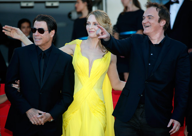 Quentin Tarantino, Uma Thurman and John Travolta at the Cannes Film Festival, May 23, 2014 where their film Pulp Fiction was presented during a special  screening for its 20th anniversary. Photograph: Eric Gaillard/Reuters