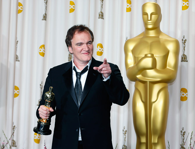 Quentin Tarantino with his Oscar for Best Original Screenplay for Django Unchained at the 85th Academy Awards, February 24, 2013. Photograph: Mike Blake/Reuters