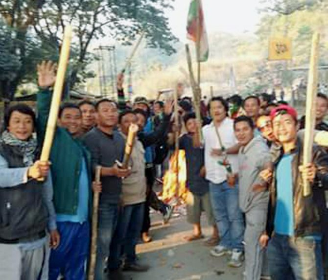 Demonstrators protest in Arunachal Pradesh. Photograph: PTI