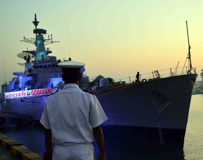 INS Godavari, India's first indigenously designed warship, sails into the sunset