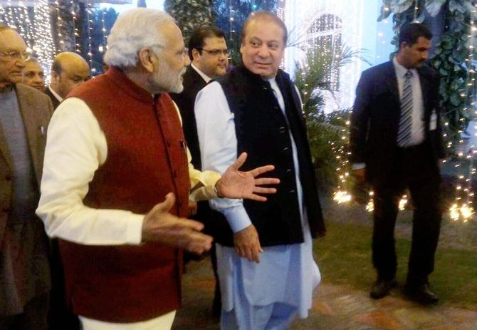Prime Minister Narendra Modi and Pakistan Prime Minister Nawaz Sharif in Lahore, December 25,  2015.
