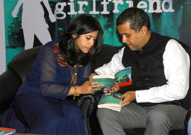 Chetan Bhagat, the top-selling Indian novelist, right, with television mogul Ektaa Kapoor at the launch of his book, Half Girlfriend, a movie version of which will hit theatres this May.