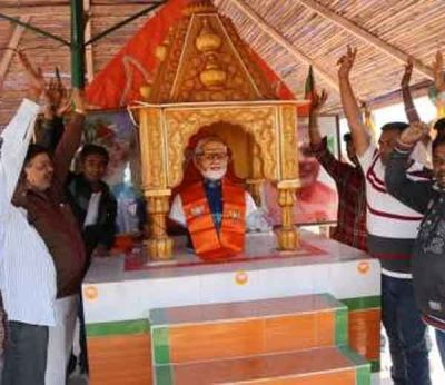 A temple dedicated to Narendra Modi in Gujarat. After the prime minister expressed his displeasure, the temple organisers decided to replace the Modi idol with a statue of Bharat Mata.