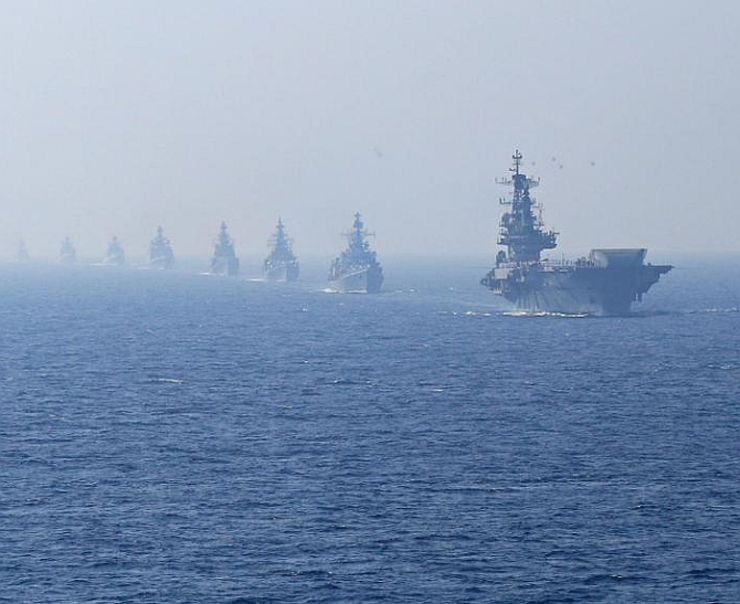 The Indian Navy during its Theatre Readiness Operational Level Exercises, TROPEX-2015, off the coast of Goa in the Arabian Sea, this February.