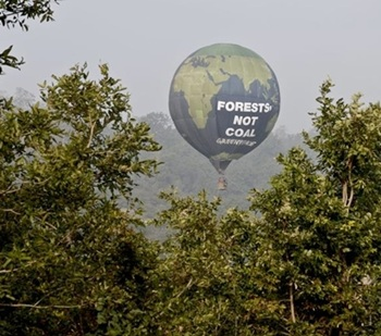 A Greenpeace balloon protesting against mining in Mahan
